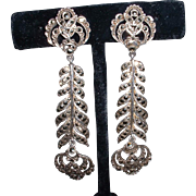 Vintage Marked Silver England MARCASITE Dangling Earrings