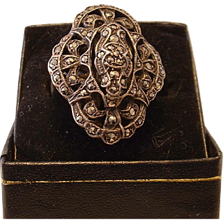 Vintage Gigantic Marked Sterling and Marcasite Ring