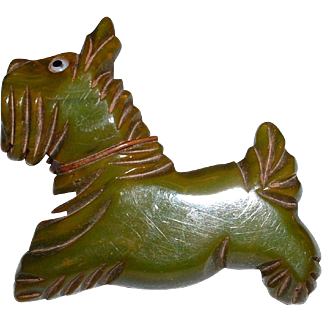 Vintage BAKELITE Figural Scottie Dog Pin Brooch