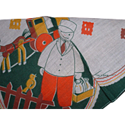 Vintage Signed Tom Lamb Hankie with Milkman and Horse Depiction