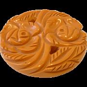 Vintage Cream Carved and Pierced BAKELITE Pin Brooch