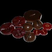 Vintage Assortment Brown BAKELITE Buttons - Figurals, Sets, etc.