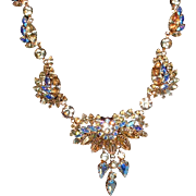 Vintage Austrian Signed SCHOFFEL GORGEOUS A/B Rhinestone Necklace Pendant