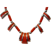 Vintage Galalith and Chrome 1940s Art Deco Jakob Bengel Necklace