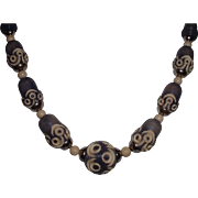 Vintage Carved Galalith and Chrome Art Deco 1940's Necklace