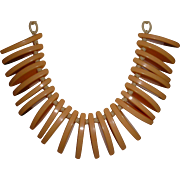 Vintage BAKELITE Dangling Necklace on Celluloid Chain