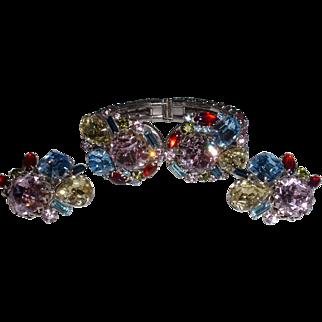 Vintage Hattie Carnegie Brilliant Rhinestone Clamper Bracelet and Earrings Set