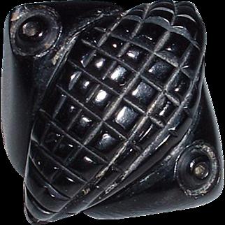 Vintage Carved Black BAKELITE Ring