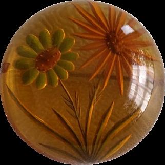 Vintage Reverse Carved Prystal Bubble Floral Pin Brooch