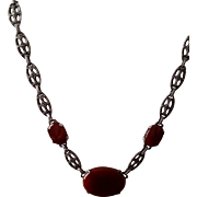 Vintage MARCASITE and Marked STERLING  silver Carnelian necklace