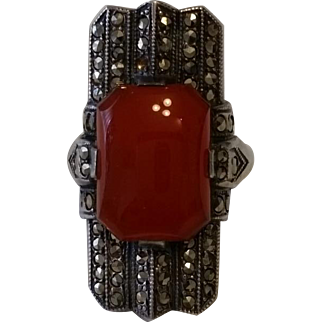 Vintage Deco Carnelian Sterling Silver MARCASITE Ring