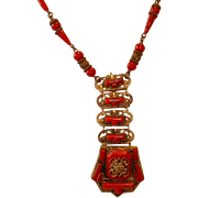Vintage Czechoslovakia Red Glass  Facetted Rhinestones Set in Goldtone Brass Deco Necklace
