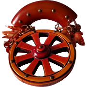 Vintage Western Harvest Time BAKELITE with Dangling Wagon Wheel and Leaves Pin Brooch