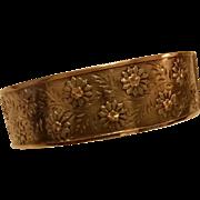Victorian Sterling Silver 9K Gold Floral Cuff Bracelet Bangle