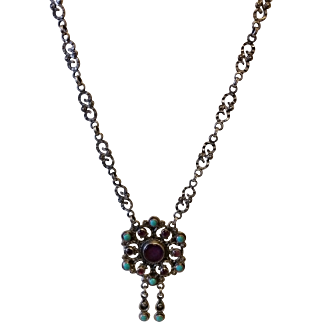 Signed Sterling Silver Necklace with Turquoise and Amethyst