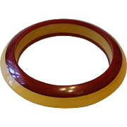 Vintage Saucer Style Two Tone Red and Cream BAKELITE Bangle Bracelet -