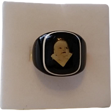 Vintage Celluloid Prison or Mourning Ring with Baby Picture