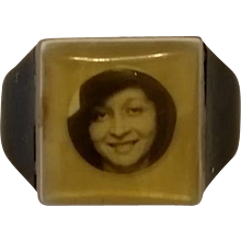 Vintage Prison Mourning Celluloid Photo Ring