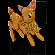 Genuine MARTHA SLEEPER Bakelite Carved Painted Figural Adorable Deer Pin Brooch