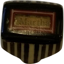 Celluloid Prison Style or Mourning Striped Ring 1930's