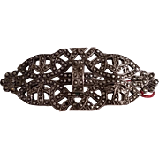 Vintage Ornate Sterling Silver MARCASITE Pin Brooch
