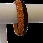 Vintage Two Tone Carved and Pierced BAKELITE Bracelet