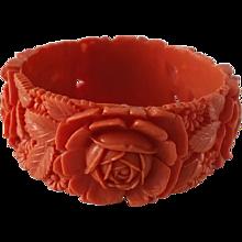 Vintage Coral Colored Mold Carved CELLULOID Bangle Bracelet