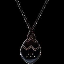 Vintage 1930's Deco Black Celluloid with Marcasites Pendant Necklace