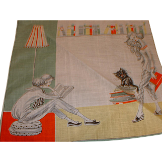 French Cotton 1960's Teenagers with Books and Black Cat Handkerchief / Hankie