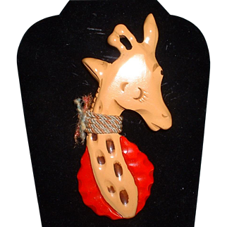 Amazing Wonderful Bakelite Giraffe Figural Book Piece Pin Brooch