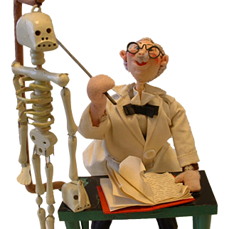 Incredible ROLDAN Doll Mad Scientist with Skeleton and Skull Made in Spain Original Tag
