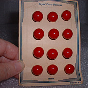 Mint on Card 12 Red Bakelite Round Dot Buttons - Vintage
