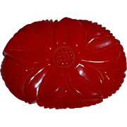 Vintage RED BAKELITE Large Flower Pin Brooch