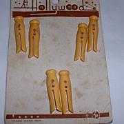 Vintage Bakelite Buttons MOC Clothes Pin Figurals Set 6