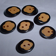 Two Tone Black & Cream Bakelite Buttons