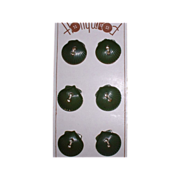 Vintage Mint on Card Green SeaShell Figural Bakelite Buttons