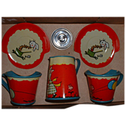 OHIO ART Tin Lithograph MIB TOY Tea for Two Set #104