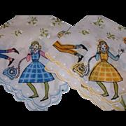 Vintage 1950's Cotton Hankies (2) Teenage Girls on Phone