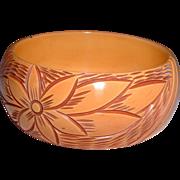 Vintage Carved and Resin Washed Bakelite Bangle Bracelet