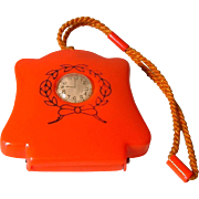 Vintage 1920's  RED Celluloid Child's Trinket Holder Purse