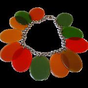 Vintage BAKELITE Transparent Colored Oval Dangles Charm Bracelet
