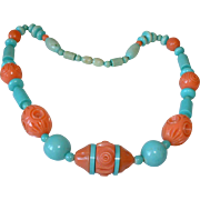 Bakelite Era-Coral and Aqua Colored Carved Galalith Beaded Necklace