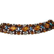 Vintage Spectacular Dizzying Topaz & Purple Colored Rhinestone Bracelet