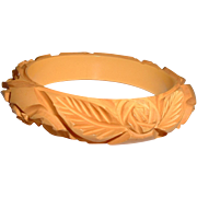 Vintage Crazy Deep Carved Cream BAKELITE Bangle Bracelet