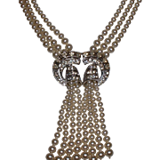 Vintage Faux Triple Strand Pearls Tassel Necklace with Rhinestone Center