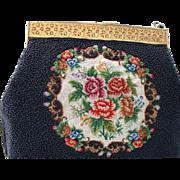 Vintage Black Beaded Petit Point  Handbag Purse
