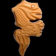 Vintage Seahorse or Reptile BAKELITE Button