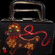Vintage 1960's Caron of Texas Black Felt Beaded POODLE Dog Handbag Purse - Red Tag Sale Item