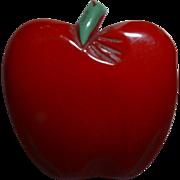 Vintage BAKELITE Carved and Painted Figural Apple Fruit Pin Brooch
