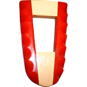 Vintage Giant Red and Cream Bakelite Dress Clip Pin